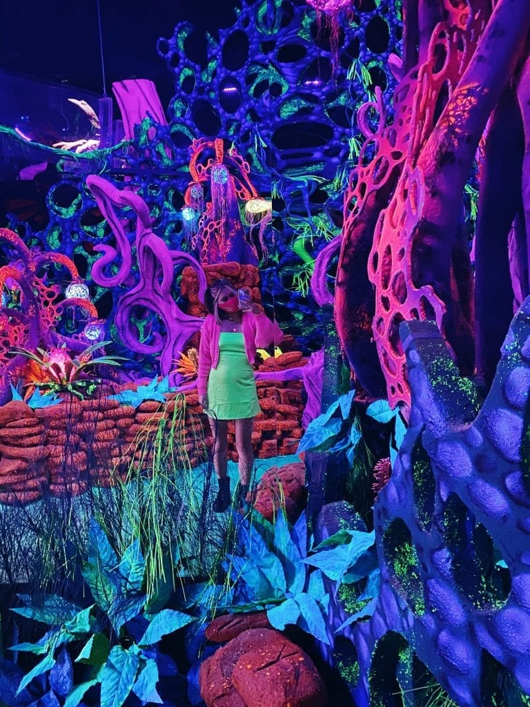 """Seismique's """"Avatar""""-inspired exhibit """"Eden"""" is the perfect place for your next Instagram post, because the blacklight reactive paint really makes the neon colors pop. (Photo by Madeline Coats)"""